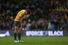 Bernard Foley of Australia dejected after losing the Bledisloe match last month. NZ fans will be able to stream such victories at much better quality with the new Chorus 1Gbps service. Photo / Getty