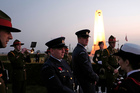 New Zealand officers stand before a ceremony to commemorate the 100th anniversary of the Battle of the Somme. Photo / AP