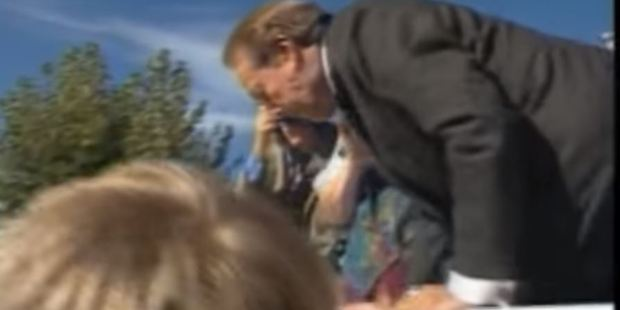 Republican presidential candidate Bob Dole fell off a stage in 1996.