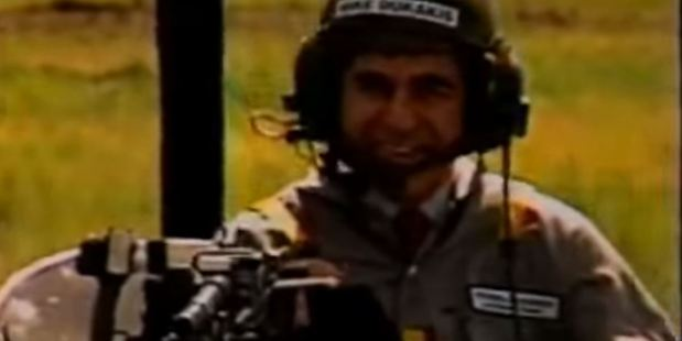 Democratic presidential candidate Michael Dukakis in the tank ride ad.