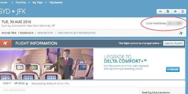 A lot of information could be seen on Delta's website. Photo / Supplied