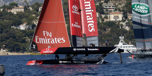 Emirates Team New Zealand during the America's Cup World Series event off Toulon. Photo / AP