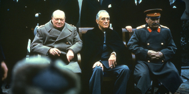 Winston Churchill, Franklin Delano Roosevelt and Joseph Stalin at the Yalta Conference, February 1945. By wars end, all there leaders looked as though they had aged significantly. Photo / Getty