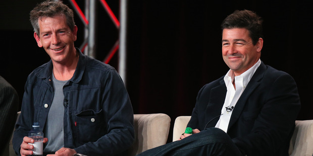 Ben Mendelsohn (L) and Kyle Chandler (R) speak onstage about Bloodline during the Netflix TCA Press Tour. Photo / Getty