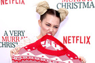 Miley Cyrus at her last red carpet event, the premiere of A Very Murray Christmas in New York. Photo/Getty