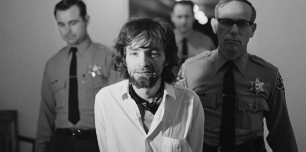 January 16, 1971-Los Angeles: Charles Manson, hippie cult leader, is brought into court 1/15 to hear the final arguments from the prosecution in the Tate-LaBianca murders. Photo / Getty