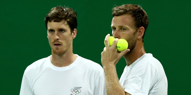 Marcus Daniell and Michael Venus of New Zealand in action at the Rio Games. Photo / Getty Images