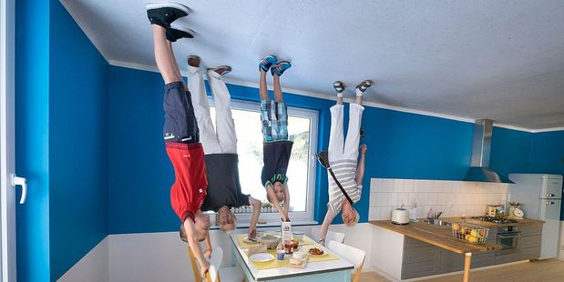 The cafe is set up like an average family home ... only upside down. Photo / Getty Images
