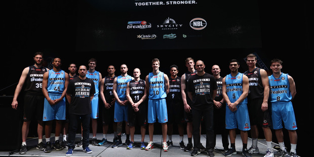 The New Zealand Breakers pose for a team photo during the season launch. Photo / Getty Images