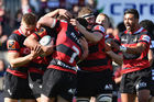 Canterbury celebrate yet another try. Photo / Getty