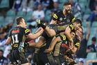 Tyrone Peachey of the Panthers celebrates with his teammates. Photo / Getty
