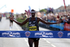 Mo Farah of Britain celebrates winning The Great North Run in Newcastle upon Tyne. Photo / Getty Images