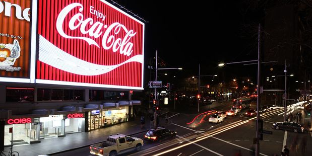 The new Kings Cross Coca-Cola sign is turned on for the first time in Sydney, Australia. Photo / Getty Images