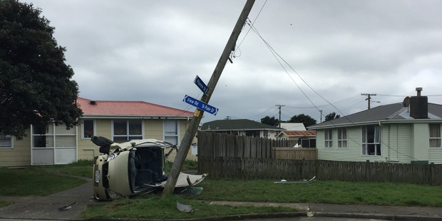 The car left the road and hit a power pole, landing on its side, Road Policing Constable Andy Ramsbottom said.