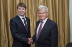 Tauranga man Jonathan Barnard, 22, with Sir Noel Robinson, Chairman of the Woolf Fisher Trust which awarded Jonathan the Woolf Fisher Scholarship to attend Cambridge University. Photo/supplied