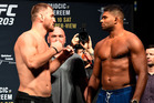Stipe Miocic of the United States and Alistair Overeem of the Netherlands. Photo / Getty Images.