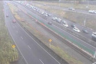 The NZ Transport Agency warned motorists of delays while the crash blocked the northbound right lane. Photo / NZTA