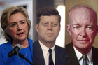 Hillary Clinton, John F. Kennedy, and Dwight Eisenhower. Photos / Getty