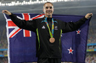 New Zealand's Nick Willis celebrates winning the bronze in the men's 1500m at Rio. Photo / AP