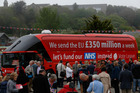 That's awkward. Vote Leave campaigners have been called on to honour their claim of spending £350 million on the NHS, made during the referendum campaign. Photo / AP