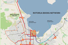 Rotorua's cycling network. Refer to the key below for each project.