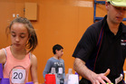 Iris Warner, 12, and Richard Foster at the Central Districts sport stacking competition. PHOTO/STUART MUNRO