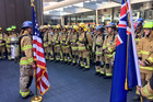 Firefighters take part in the memorial Sky Tower stair climb to remember the fire service men and women who lost their lives in the September 11 terror attacks. Photo / Twitter