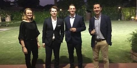 Bay of Plenty Times' Juliet Rowan, NBR reporter Jason Walls, Newshub's Tom Macrae and One News reporter Chris Chang at the New Zealand High Commission in Delhi. Photo/supplied
