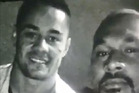 Jarryd Hayne (left) pictured in a Snapchat video with alleged bikie Chris Bloomfield picture supplied.