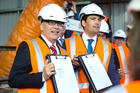 Auckland Mayor Len Brown (left) and transport Minister Simon Bridges at the site of the City Rail Loop. Photo / Nick Reed