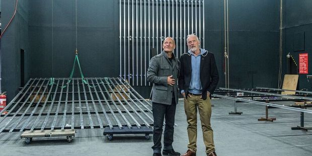 From the past to the present, ATC founder Simon Prast (left) on the new stage with ATC's current artistic director Colin McColl.