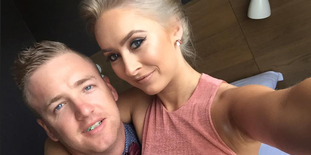 Mitchell Green and his fiancee Kaydee Gosper from Sydney were on the helicopter that rolled on landing near Queenstown on Monday. Photo / Facebook