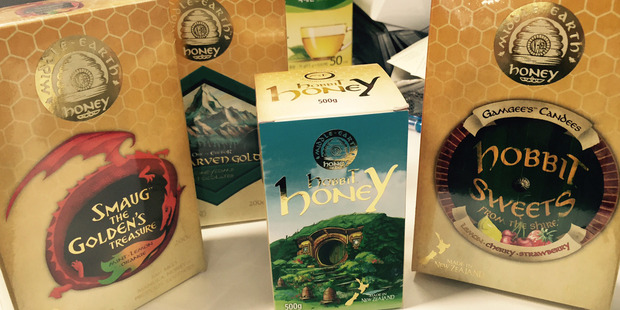 Hobbit branded honey and other products for sale in New Zealand. Photo / Supplied