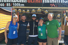 Tim Day (second from left) and race organiser Paul Charteris (right) at the Ultra Trail du Mt Blanc Expo in France. Also pictured are Kylie Day, Mike Wardian (USA), Sarah Rosenbaum.