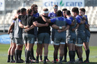 All Blacks form a huddle, during the New Zealand All Blacks team training session held at AMI Stadium, Christchurch, in preparation for the test against South Africa. Photo / Brett Phibbs.