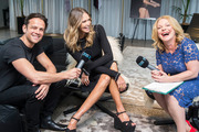 Model Elle Macpherson with Newstalk ZB hosts Kerre McIvor and Mark Dye before a one on one interview at the Seafearers Club. 15 September 2016. New Zealand Herald photo by Jason Oxenham.