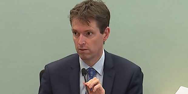 Colin Craig gives evidence yesterday in the defamation trial. Photo / from video