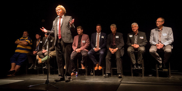 """""""Donald Trump"""", aka Matt Cowley, moderated a meet the candidates evening for those sitting for Tauranga's mayoralty."""