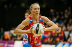 NSW Swift's Laura Langman prepares to pass during the ANZ Netball Championship semi final between the Waikato BOP Magic and the NSW Swifts. Photo / Photosport.co.nz
