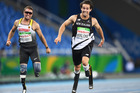 Liam Malone runs in the 200m T44 at the Rio Paralympics. Photo / photosport.nz