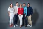 The new <i>Breakfast</i> line-up: Brodie Kane, Jack Tame, Hilary Barry, Sam Wallace and Daniel Faitaua.