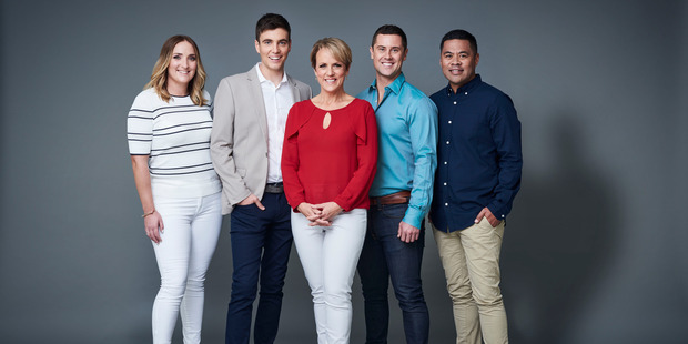 The new  Breakfast  line-up: Brodie Kane, Jack Tame, Hilary Barry, Sam Wallace and Daniel Faitaua.