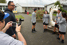 Rotorua Intermediate Students (from left) Shaun Gifkins, 13, Jahzell Roberts, 12, Julius Smith, 13 and Mariah Pepper, 13, taking part in the Nga Pumanawa e Waru music video. PHOTO/STEPHEN PARKER