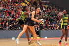 Silver Ferns player Bailey Mes with the ball against Jamaica at the Energy Events Centre tonight.  Photo/Ben Fraser