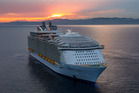 The luxury liner Harmony of the Seas pictured off the coast of Spain in June. Photo / Royal Caribbean International