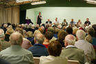 About 200 people attended a meet-the-candidates event at Onerahi Hall on Wednesday night. Photo / Alexandra Newlove