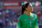 In this Feb. 13, 2016, file photo, United States goalie Hope Solo walks off the field at half time of a CONCACAF Olympic qualifying tournament soccer match. Photo / AP.