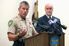 Yuba County Sheriff Steven Durfor, left, discusses the arrests made related to the 1973 killings of two California girls, at a news conference. Photo / AP