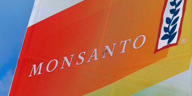 The Monsanto logo on display at the Farm Progress Show in Decatur, Ill. Photo / AP