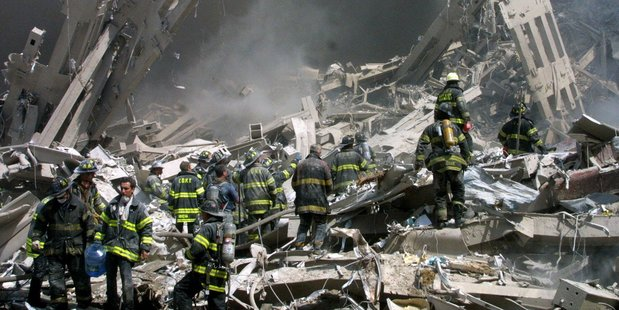 Firefighters in the rubble of the World Trade Center in New York on September 11, 2001. Photo / AP